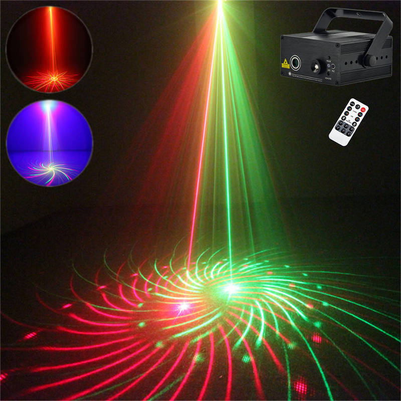 AUCD Mini 12 Patterns Red Green Laser Projector Stage Light 3W Blue LED Mixing Effect Laser DJ Show Home Party Lighting Z12RG