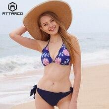 Attraco Bikini 2019 Women Swimsuit Low Waist Vintage Floral Print Swimwear Bandage Laciness Bathing Suit Beachwear Hot Sale