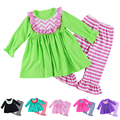 2016 Sale Clothes New Arrival Long Sleeve Cotton Baby Girl Pants Sets,kids Ruffled Dress Chevron Bibs & Striped Sets Outfits