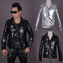 Street 1 gold Python skin bright punk mens leather jackets and coats slim fit men leather motorcycle clothing suit collar