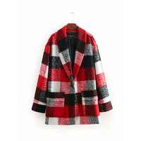 Winter Autumn Red Plaid Women Woolen Coat Female Fashion Warm Long Sleeve Jacket For Office Lady Work Clothes abrigo mujer