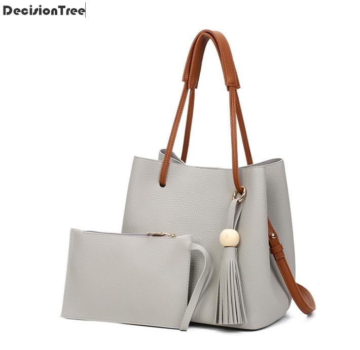 Women's leather drawstring handbags