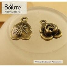 BoYuTe (100 Peças/lote) 17*12 MM Bronze Antigo Chapeado Zinco Liga de Metal Rose Flor Pingentes encantos para Fazer jóias
