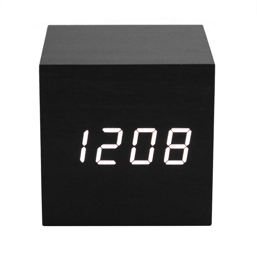 Termómetro Digital de madera reloj alarma fecha reloj de escritorio Mesa USB breve electrónico activado por voz Decoración