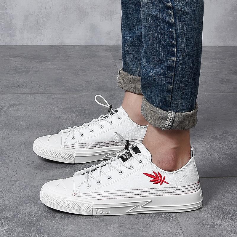 2018 Los De Genuíno Tow 38 Black Casuais 43 outono Cor Tamanho Homem Moda Nova Luz Simples white Fg5 Confortável Sapatos Zapatos Primavera Couro 4qwAnx