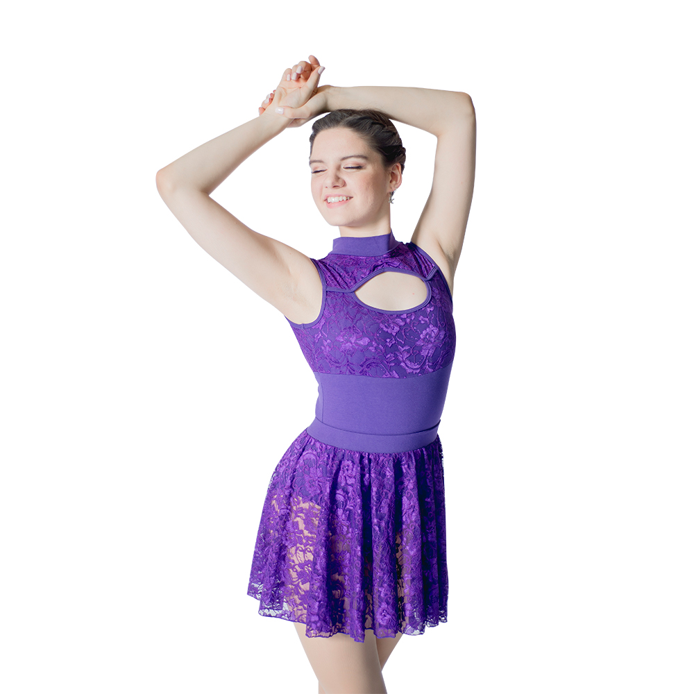 0b08db903dcc Purple Dress Cotton Lycra Lace Tank Leotard with Matching Lace ...