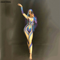 Fashion Dj rhinestone Butterfly Print Nude Jumpsuit Sexy Siamese Cover Stretch Stage Wear Stage Costumes For Singers Bodysuti