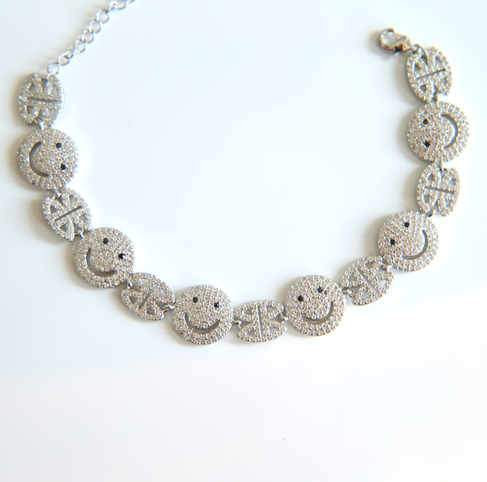 2018 newest Smile Face Lucky Women Charm Bracelet Gold-color Adjustable Length Chain Bracelets for Women Party Wedding Jewelry