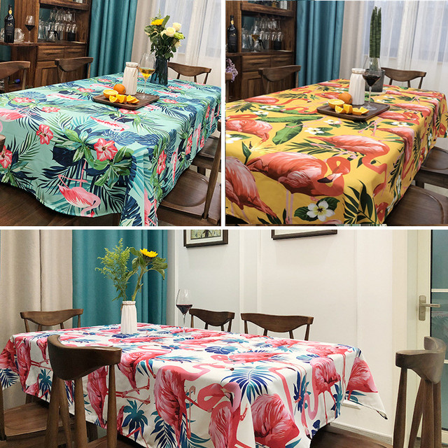 Tablecloth Tropical Green Plants Pink Flamingos House Restaurant Wedding  Home Decoration Picnic Mat On The Table