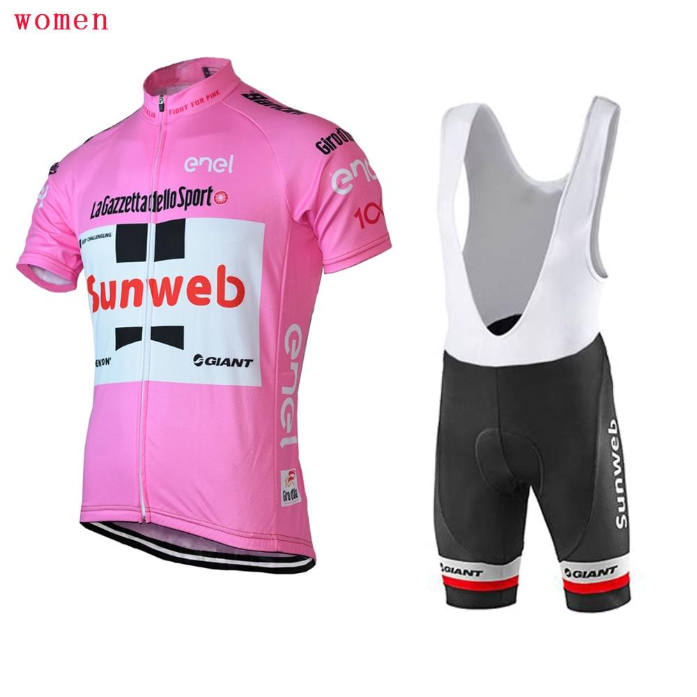 Women SUNWEB cycling jersey summer bib shorts Gel Pad bike wear jersey set  top Cycling clothing customized -in Cycling Sets from Sports    Entertainment on ... 6fcda9728