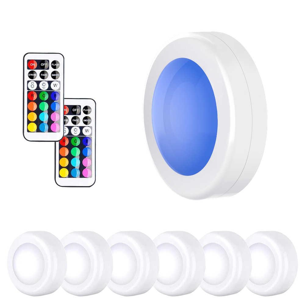Светодиодная подсветка под шкаф с регулируемой яркостью RGB сенсорная светодиодная шайба лампа для шкафа витрина шкаф ящик шкаф RGB Освещение