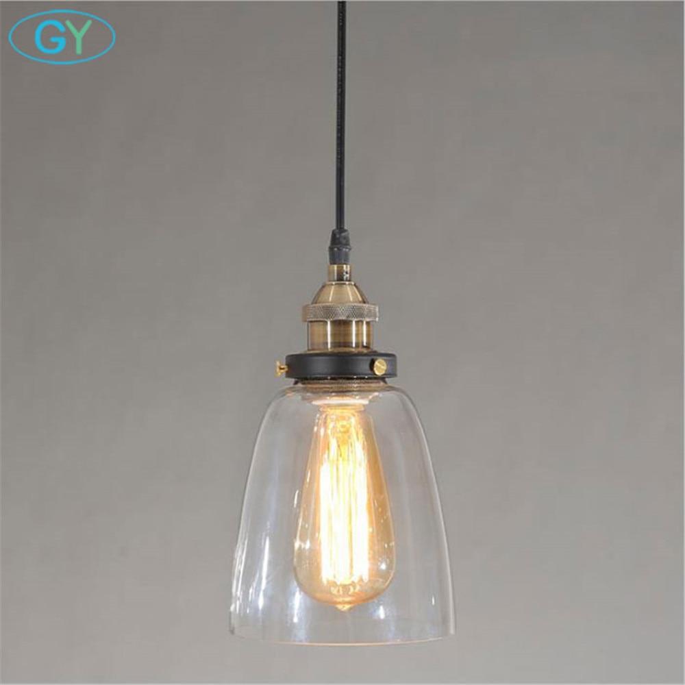 AC100 240V Clear Glass pendant light Vintage Industrial Bell hanging fixture Bedroom Kitchen Pub Bar Pendant