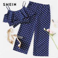 SHEIN Polka Dot Crop Cami Top And Palazzo Pants Set 2018 Women Spaghetti Strap Sleeveless Ruffle