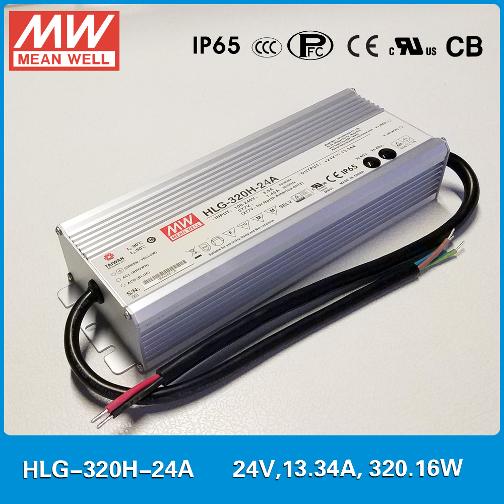цена на Original Meanwell LED driver HLG-320H-24A 320W 13.34A 24V current/voltage adjustable waterproof IP65 Mean well LED Power Supply