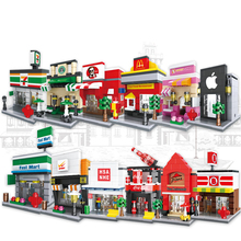 Festival gifts Educational toys  Creative Mini Street Miniature splicing building Blocks Compatibled with Legoings