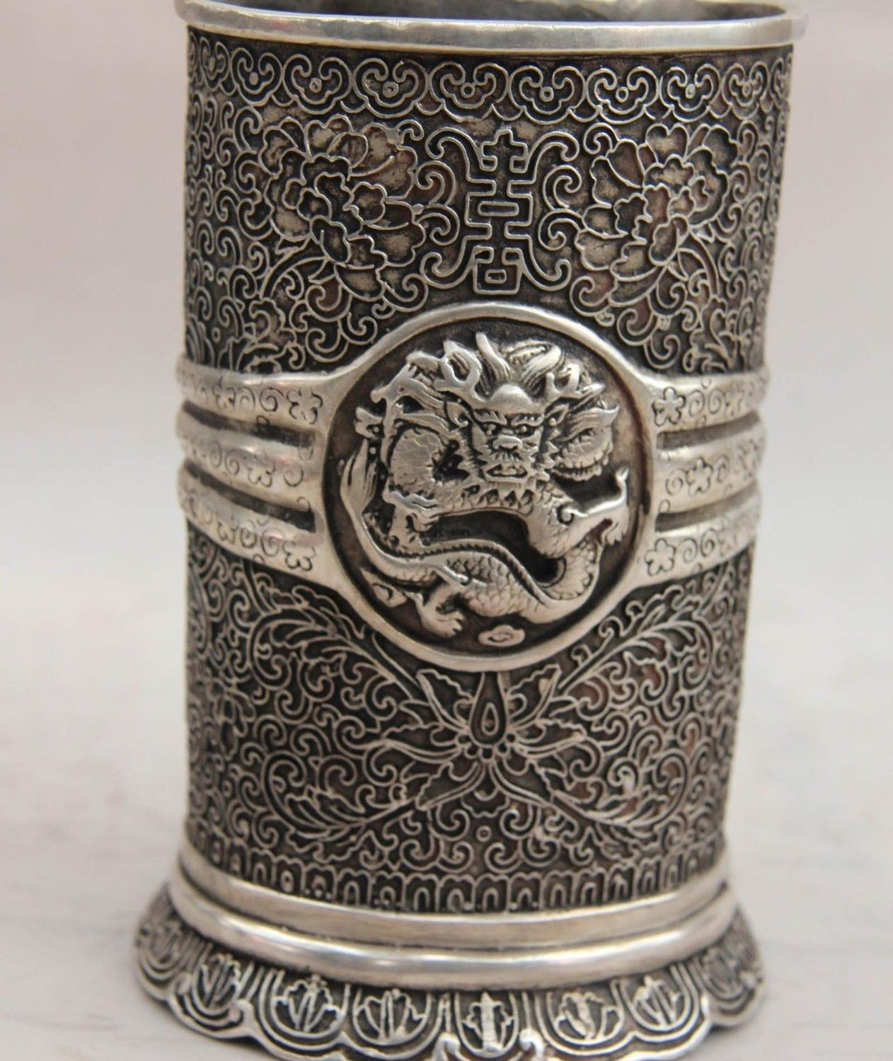 China White Copper Silver Animal Dragon pattern Pen case container brush potChina White Copper Silver Animal Dragon pattern Pen case container brush pot