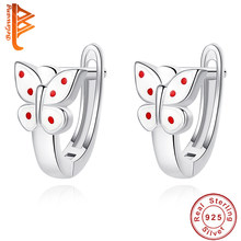 BELAWANG Luxury 100% 925 Sterling Silver Exquisite Enamel Butterfly Stud Earrings for Women Ladies Sterling Silver Fine Jewelry(China)