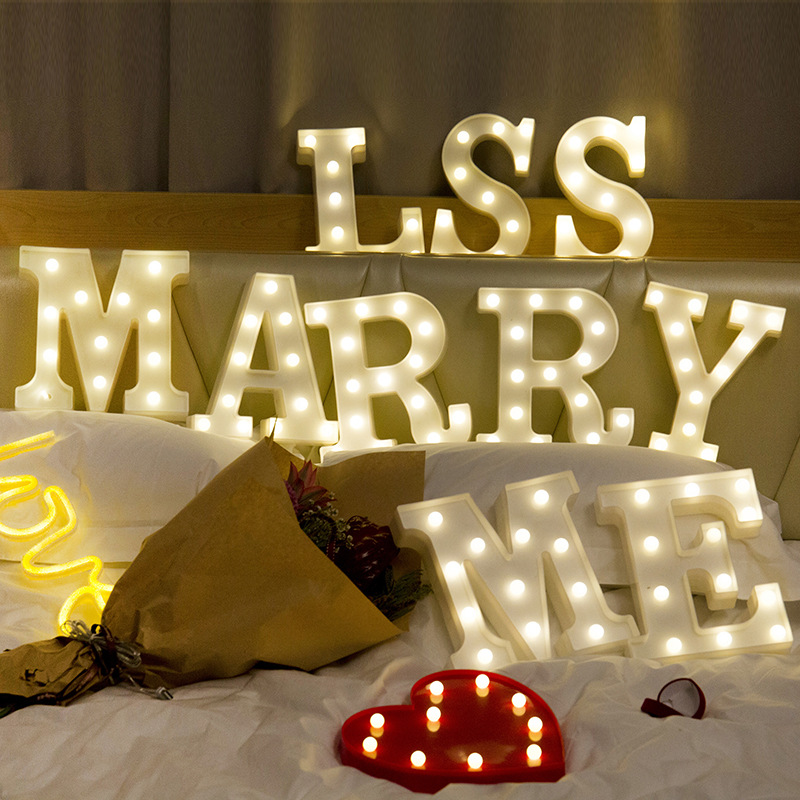 Image 2 - 26 Letters White LED Night Light Marquee Sign Alphabet Lamp For Birthday New Year Valentines Day Decoration-in LED Night Lights from Lights & Lighting