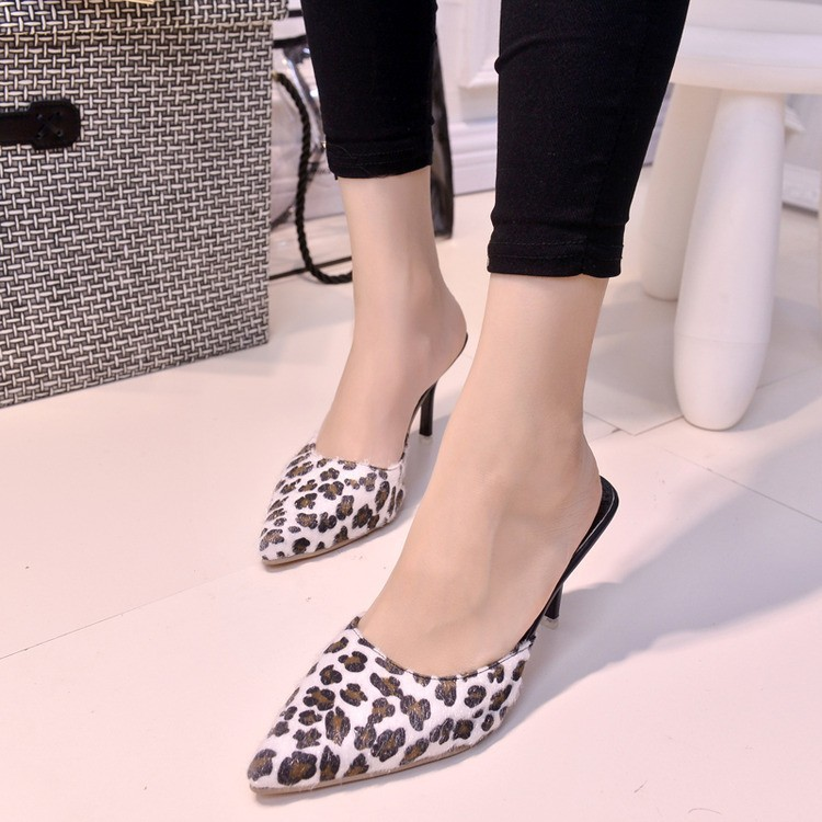 Con Zapatos 2016 Tacón Sexy Marrón Leopardo Las Boca blanco Estilete Nuevo Y Sandalias Scoop Superficial Mujeres De Primavera Otoño Puntiagudo q8xqprzCw