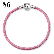 SG New Original 100% 925 Sterling Silver Pink Flower Genuine Braided Leather Snake pink Chain Bracelets for Women 2019 Gifts