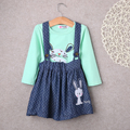 2PC Baby Girls Kids Rabbit Tops Dot Denim Overalls Dresses Skirts Outfit Clothes