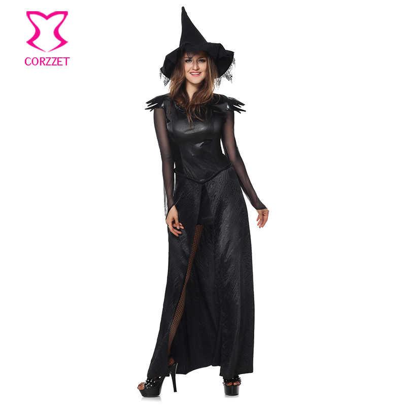 ゴシック中世マジック魔女ロングドレス帽子カーニバルパーティー女性スーツ大人コスプレセクシーなハロウィン魔女の衣装