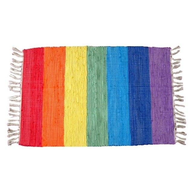 Schöne regenbogen teppich bunte carpet handgestrickte tuch matten ...