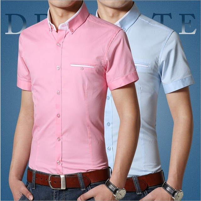 2015 New Brand Mens Dress Shirts Short Sleeve Casual Shirts Men ...