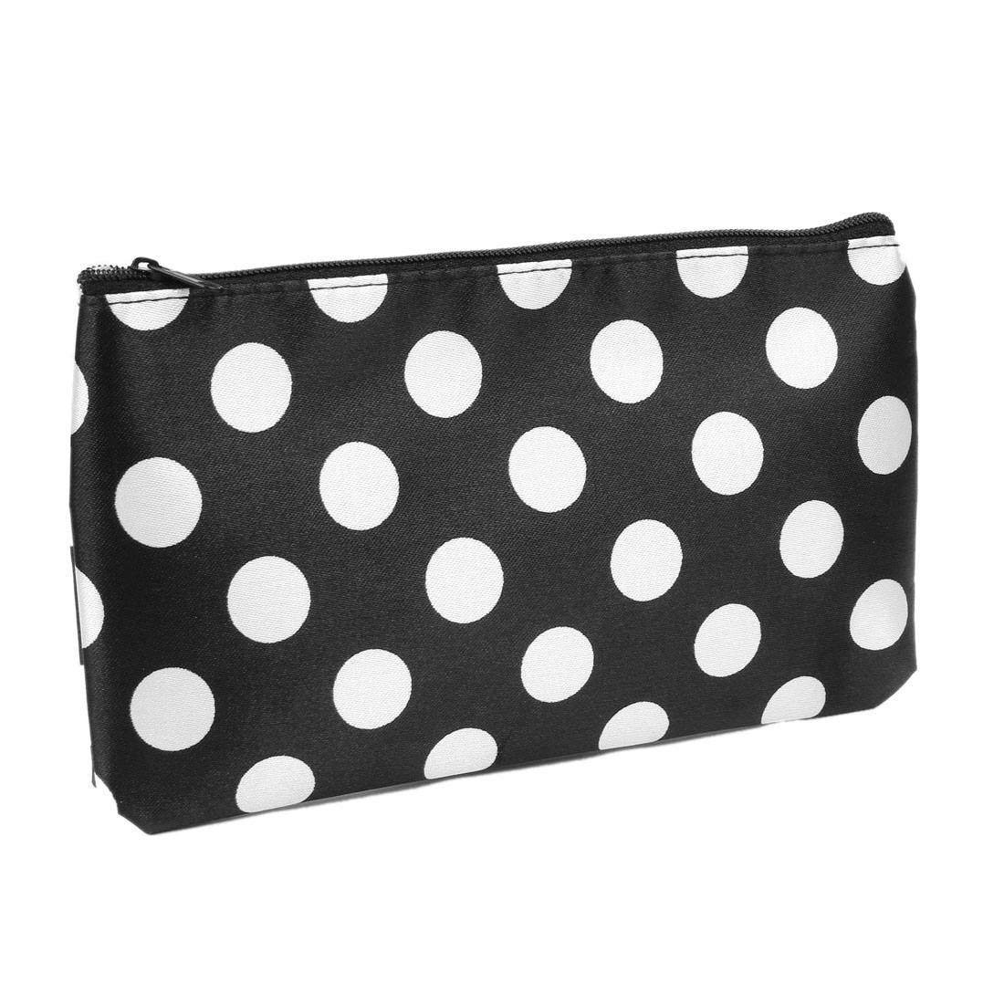 цена White Polka Dots Print Polyester Makeup Bag make up organizer Holder Black For Women в интернет-магазинах