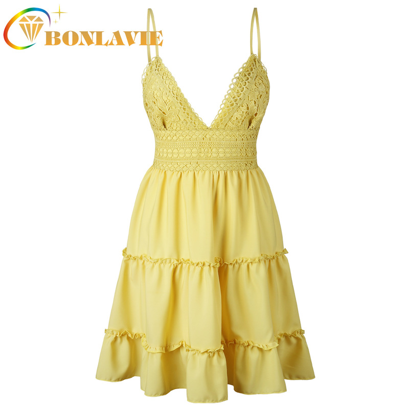 Fashion Clothes Spaghetti Strap Sexy V-neck Backless Lace Stitching Pleated Dress Female Elastic Waist Solid Color Sweet Dress