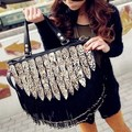 Women's Handbag leopard print decoration tassel messenger bag fashion female bags boidae serpentine pattern peacock shoulder bag