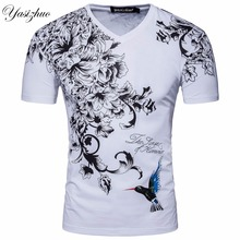 Men Short Sleeve V Neck Print hummingbird Designer CottonT Shirt Summer Fashion White Black Slim Cotton T Shirt S-XXL D058