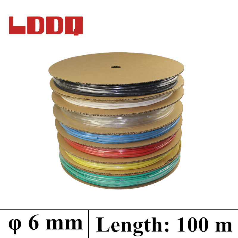 LDDQ 100m*6mm Heat shrink tubing 2:1 Heat Shrink Tube Tubing 600&1000V Low  pressure Heat sleving Cable Sleeving termoretractil