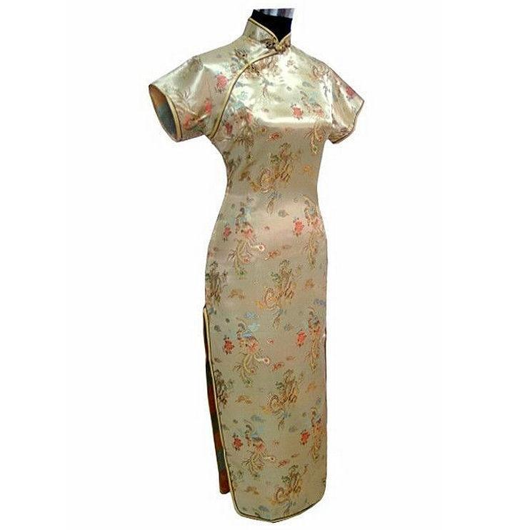 Crna Ženska Satin Long Cheongsam Qipao Tradicionalna kineska haljina - Nacionalna odjeća - Foto 5