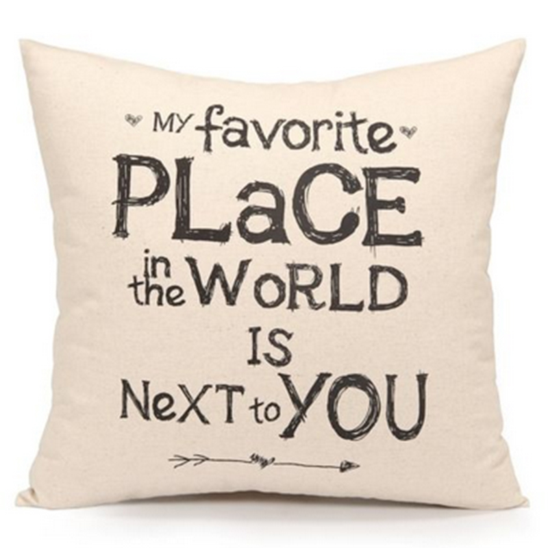 Animal Words Quotes Pillow Case Vintage Flower Cushion Cover Letter Custom Decorative Pillows With Quotes