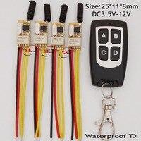 Micro Relay Contact Remote Switch Mini RF Button Switch 0V Switching Receiver 4CH independent 3.7V 4.2V 4.5V 5V 6V 7.4V 8V 9V12V
