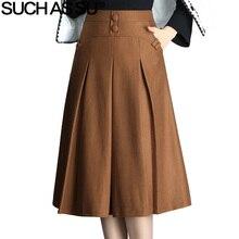 SUCH AS SU New 2017 Women Black Brown Button High Waist Pleated Skirt Autumn Winter S-3XL Size Female Mid-Long Skirt