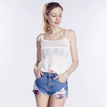 Hoffen 2017 Summer Style Women Tops Sexy Camisoles For Ladies White Spaghetti Strap Crochet Hollow Out Camis Top High Quality