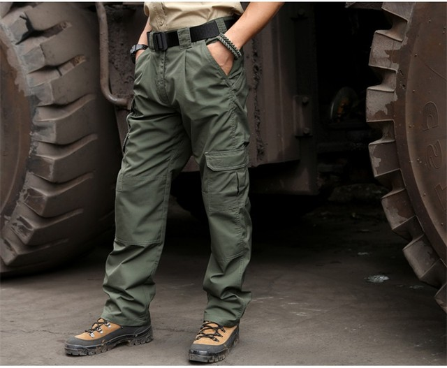 Calças Da Carga Dos Homens ao ar livre Dos Homens Do Exército Militar Tático Leve Calças de Carga Multi-W bolso Calças de Algodão calças Ripstop Teflon