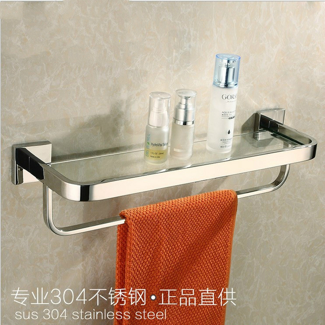 american 304 stainless steel chrome bathroom glass shelf with towel bar polished cosmetic holder shelf bathroom - Bathroom Accessories Glass Shelf