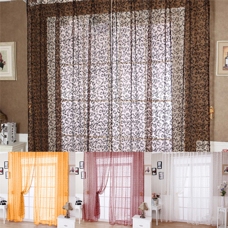2016 sheer tulle curtain panels modern window treatments for Modern living room window treatments
