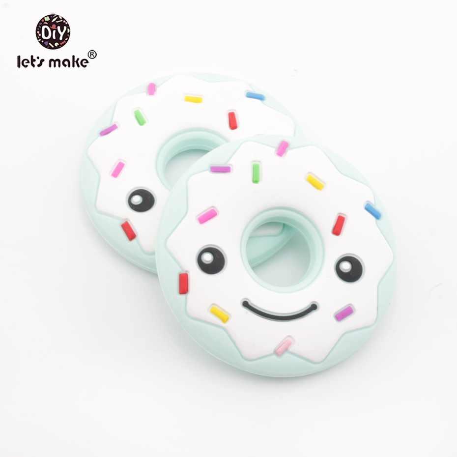 Mari Kita Membuat Pink Silicone Teether Donat BPA Free Food Grade Keperawatan Teething Kalung Charms Liontin Tumbuh Gigi DIY Aksesoris