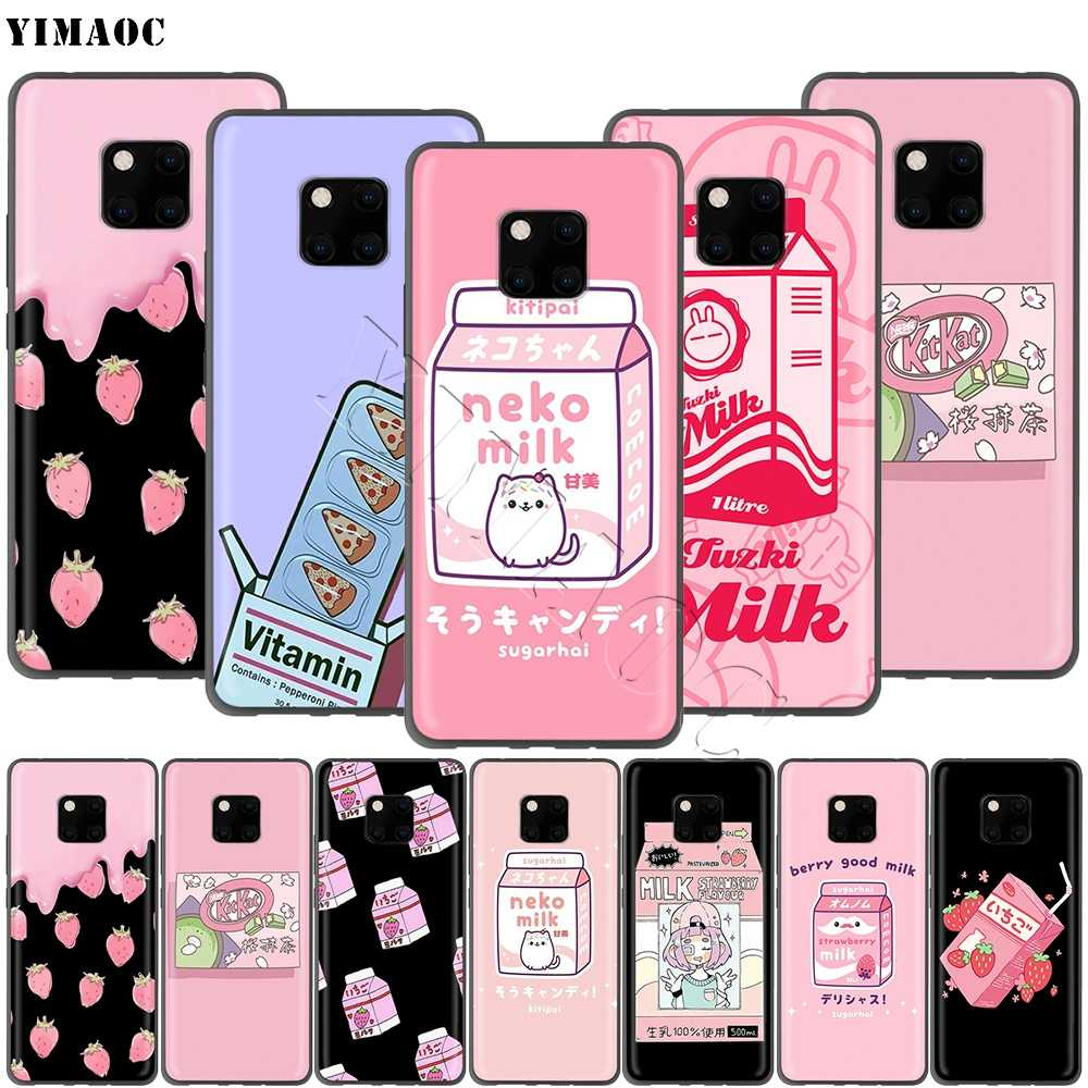 YIMAOC Kawaii Japanese Strawberry Milk Case for Huawei Mate 10 P8 P9 P10 P20 P30 P Smart Lite Pro Mini 2017