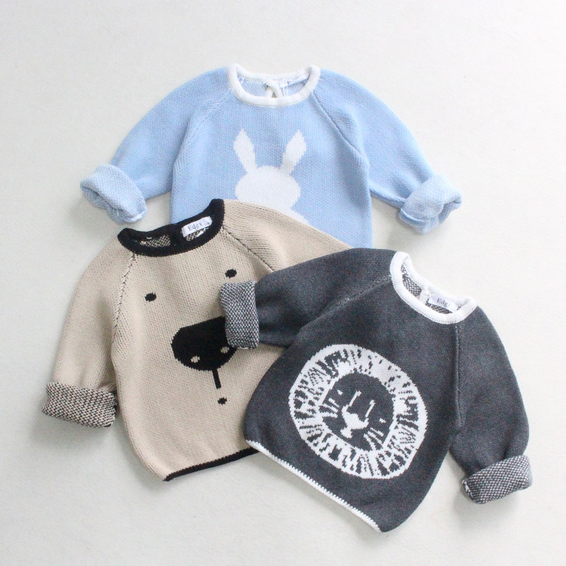 Korean Style Baby Boy Cotton Sweater Kids Knitted Casual Cartoon Rabbit Lion Jumper Boy Spring Clothes High Quality