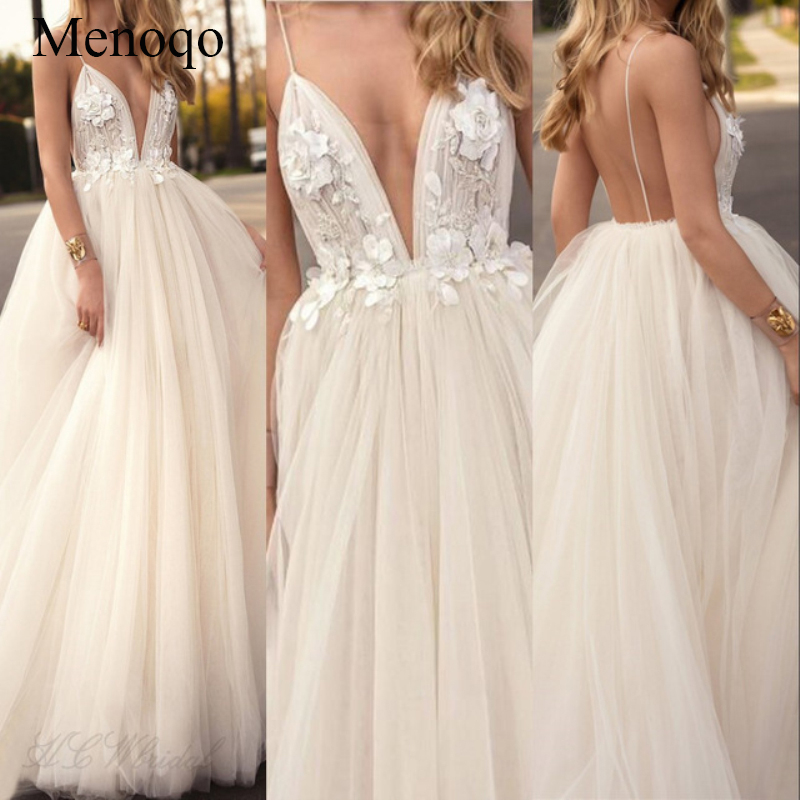 Flowers A Line Special Occasion Prom Gowns Custom Made Sexy Tulle Long   Evening     Dress   2019 New Arrival Backless Court Train