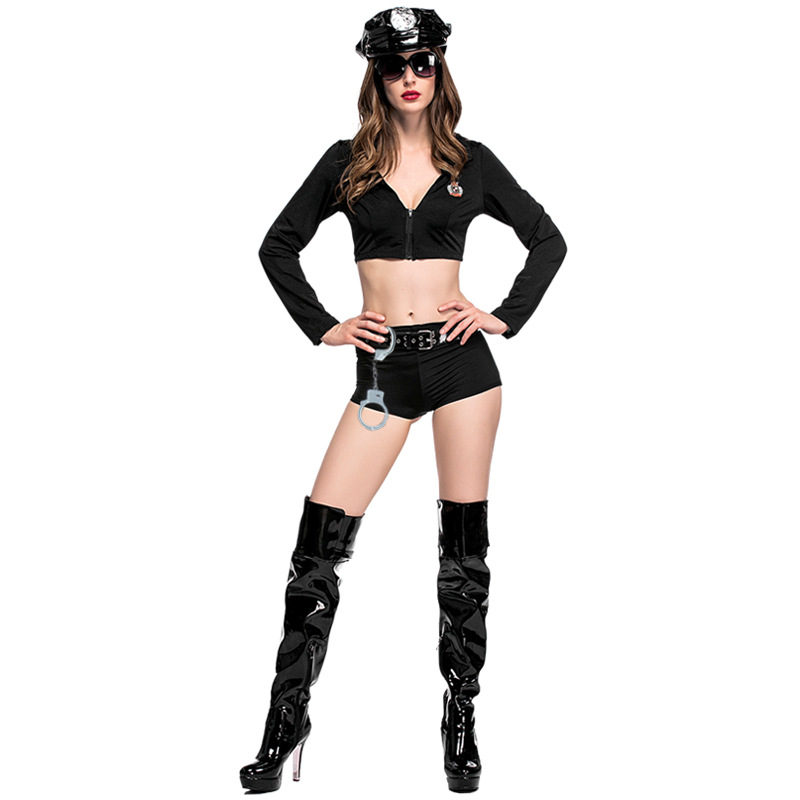 Woman Sexy Police Cop Cosplay Costumes Crop Top Shorts Hat BeltHalloween Cosplay Costume Woman Black Sexy Lingerie 5PCS Set