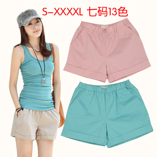 Spring Summer Women Casual Shorts Lady's Big Size Solid Loose Harem Plus Size Harem Hip Hop Beach All-match Shorts S - 4XL