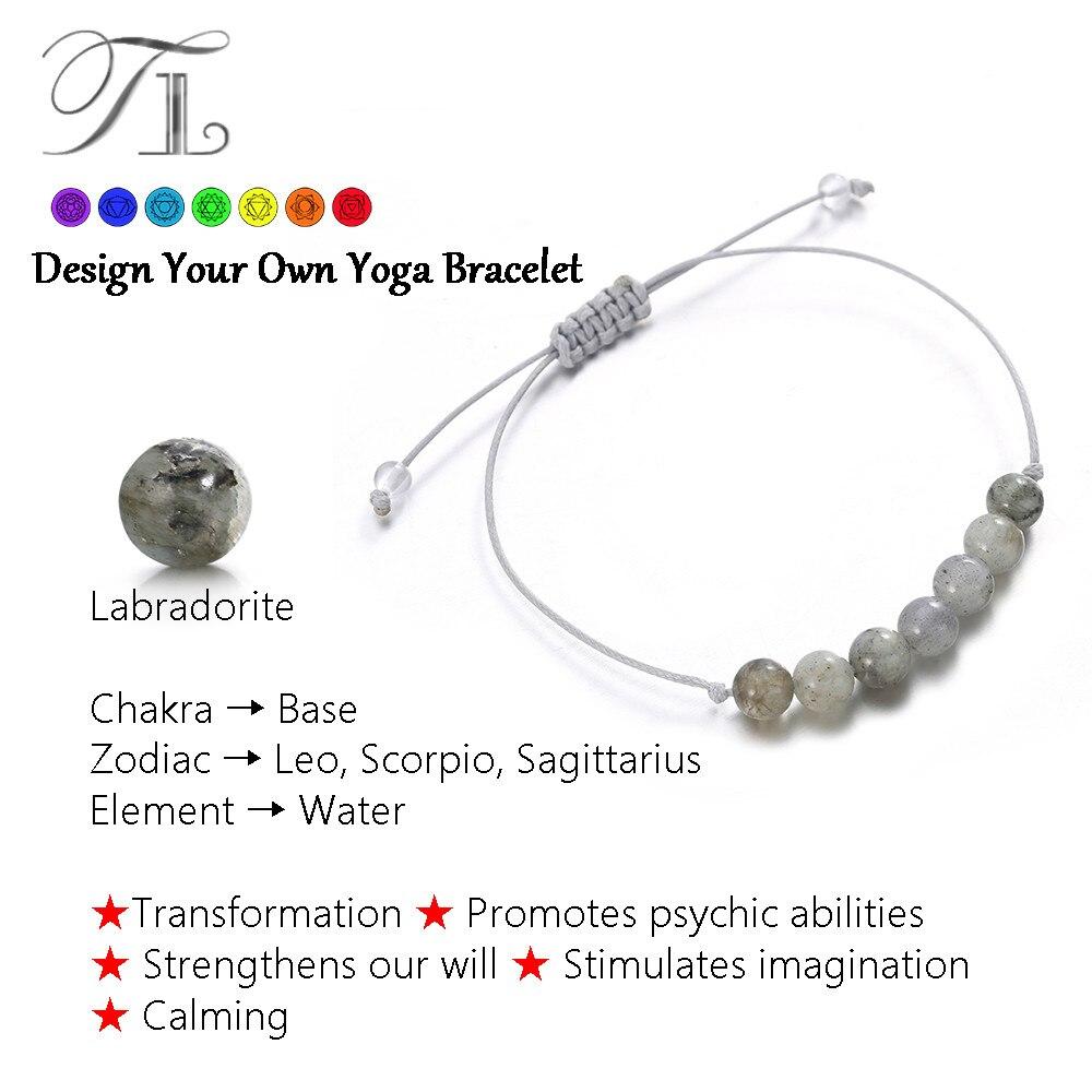 TL 6mm Natur Labradorit Heilung Armbänder 2017 Heißer Verkauf Yoga Armbänder Für Frauen DIY Sieben Perlen Chakra Power Energy armband