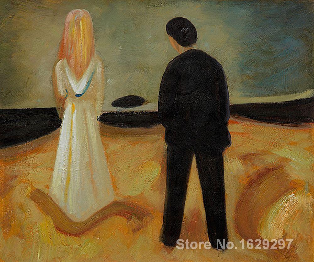 À®‡toile Peintures Pour Salon Deux Etres Le Solitaire Ceux Edvard Munch Haute Qualite Peint A La Main Led Lighting Xz72