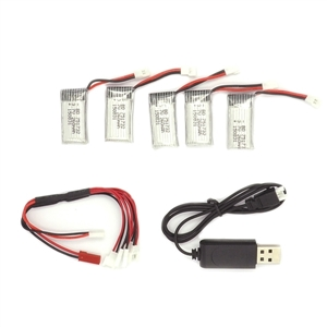 5 PCS 3 7V 260mAh Batteries and 1 PCS USB Cable and 1 PCS Cable with